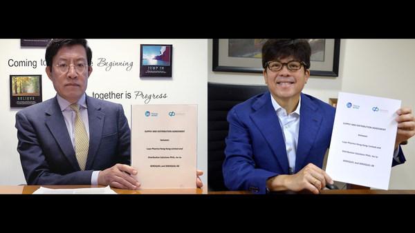 簽約儀式(從左至右:綠葉製藥(國際)總裁張業泓博士;Distriphil公司創始人兼總裁William Chiongbian II)